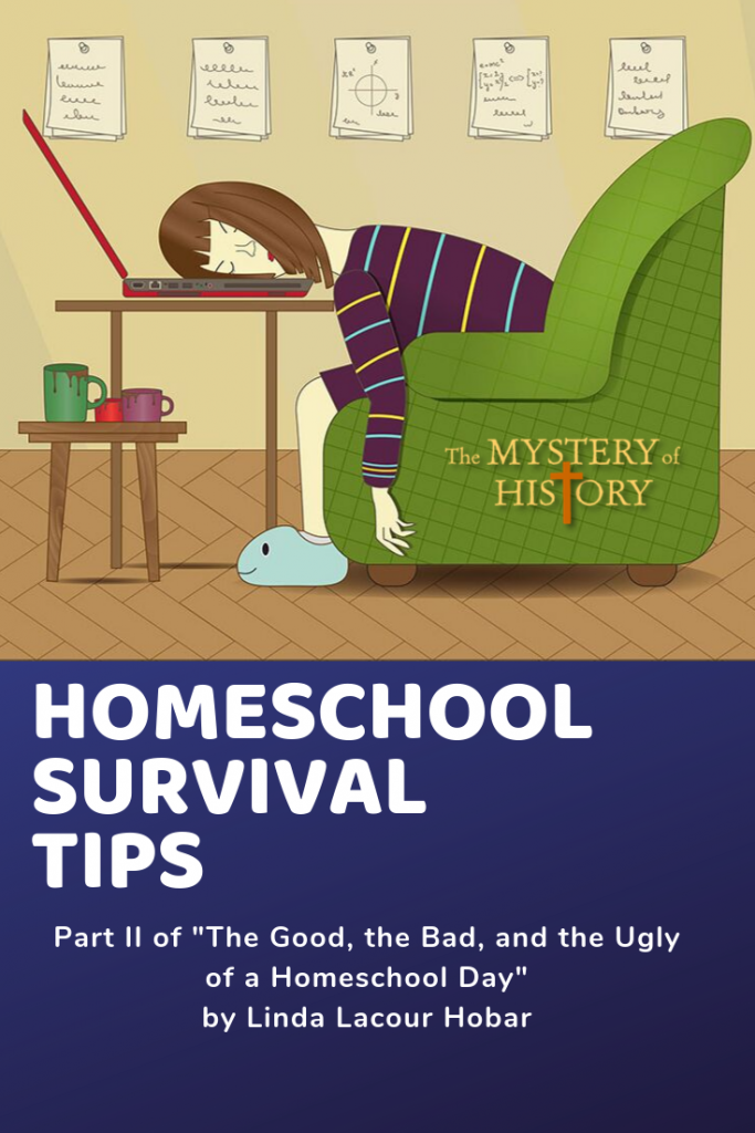 "Last month I introduced a three-part series titled, ""The Good, the Bad, and the Ugly of Homeschool."" Since I've already covered the good, it's time now for the bad of homeschooling—and a few survival tips for a bad day of homeschool. To set the scene properly, picture me in my leopard-print bathrobe with mismatched polka dot slippers, reading glasses, and long dirty hair swept up in a messy bun. (Yea, we're going to talk about that kind of a bad homeschool day!)"