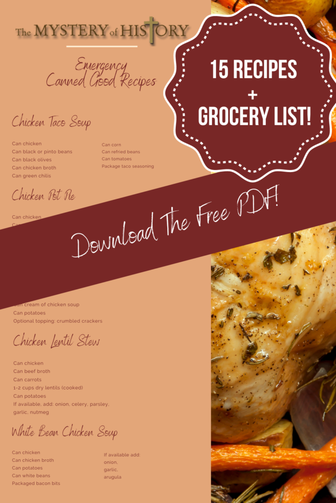 Linda Hobar shares 15 Emergency Canned Good Recipes PLUS Grocery List in this free printable