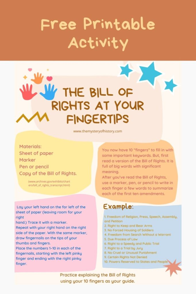 Free Printable from The Mystery of History to accompany the post 5 Facts about the U.S Constitution. Enjoy this fun way of learning history with your children!